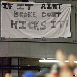 A Liverpool fans protest banner