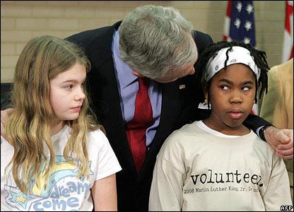 George W Bush with children in Washington