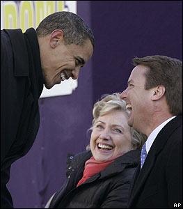 Barack Obama, Hillary Clinton and John Edwards