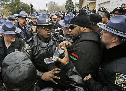 New Black Panthers members confront police in Jena, Louisiana