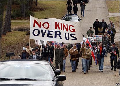 Segregationist marchers in Jena, Louisiana
