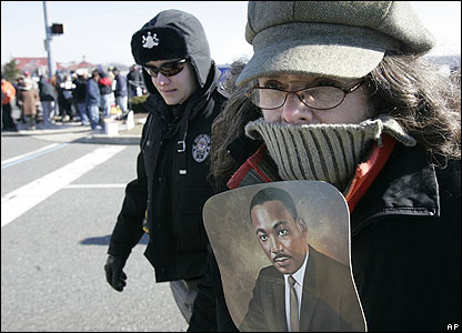 A protester is led away by police in Pennsylvania