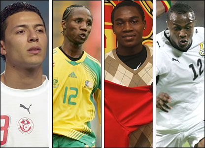 From left to right: Armine Chermiti, Teko Modise, Manucho, Andre 'Dede' Ayew