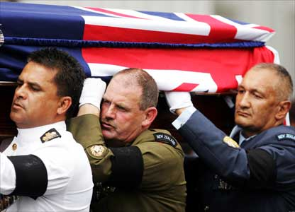 Representatives of the New Zealand Defence Force carry the casket of Sir Edmund Hillary out of St Marys Church following the State Funeral