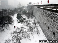 Snow covers the city wall in Xian, China