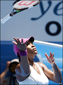 But it is Serena who is looking sluggish and feeling frustrated as Jankovic races to the first set, taking it 6-3
