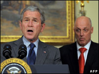 President George W Bush and Treasury Secretary Henry Paulson