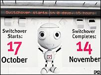 A digital switchover billboard in Whitehaven