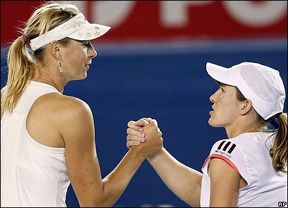 It is Henin's first defeat since Wimbledon 2007 and Sharapova can look forward to a clash with Jelena Jankovic