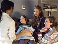 Ellen Page (centre), Olivia Thirlby and Allison Janney in Juno