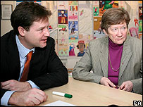 Nick Clegg visiting an Age Concern centre in Kingston-upon-Thames