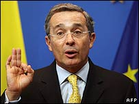 Colombian President Alvaro Uribe in Brussels (22 January)