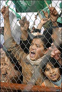 Palestinian children trying to cross from the Gaza Strip to Egypt
