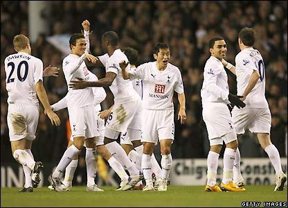 Tottenham's players celebrate the second goal