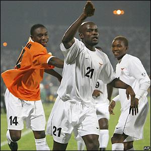 Chamanga celebrates the opening goal