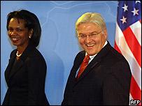 Condoleezza Rice y su par alemán, Frank Walter Steinmeier