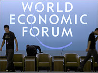 Workers preparing a stage at the World Economic Forum