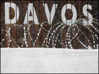 barbed wire in front of Davos sign