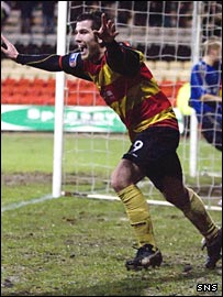Liam Buchanan celebrates against Dunfermline