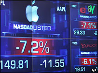 Electronic board showing Nasdaq shares down including Apple's