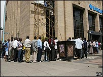 Queue outside bank
