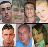 [Top, L-R) Dale Crole, Gareth Morgan, Liam Clarke, David Dilling; [Bottom, L-R) Thomas Davies, Zachary Barnes, Natasha Randall
