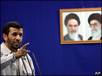 Iran's President Mahmoud Ahmadinejad speaks in Tehran last year, with Iran's late leader Ayatollah Khomeini and Iran's supreme leader Ayatollah Ali Khamenei in the background
