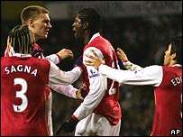 Arsenal strikers Nicklas Bendtner and Emmanuel Adebayor