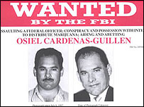 Afiche del FBI pidiendo la captura de Osiel C�rdenas.