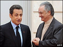 French President Nicolas Sarkozy (left) and Jacques Attali