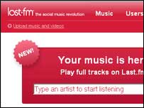 screengrab of Last.fm homepage, Last.fm