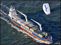 MS Beluga Skysails with its computer-controlled kite (top right corner)