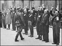Jews arrested by Nazi officers in the Warsaw Ghetto, 1943