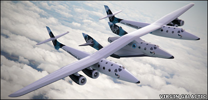 SpaceShipTwo slung beneath White Knight Two (Virgin Galactic)