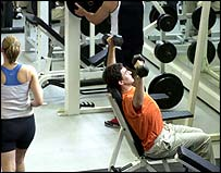 People working out in a gym