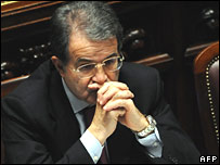 Romano Prodi in the lower house before the vote of confidence on 23 January 2008