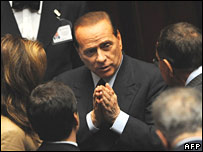 Forza Italia party leader Silvio Berlusconi during the confidence vote