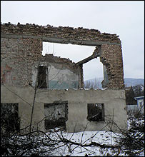 Damaged building in Kurta, a Georgian-held village in South Ossetia
