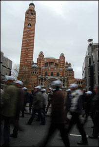 Protesters marching past Westminster Cathedral