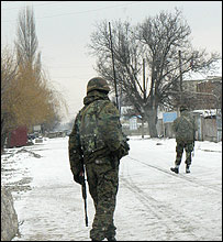 Georgian troops at a checkpoint