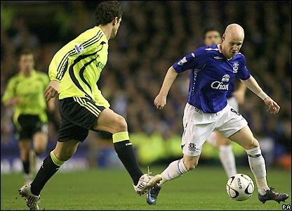 Everton striker Andy Johnson heads for goal