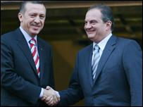 Turkish PM Recep Tayyip Erdogan and Greek PM Costas Karamanlis