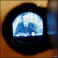 Jose Manuel Barroso seen through TV camera. Image: AP