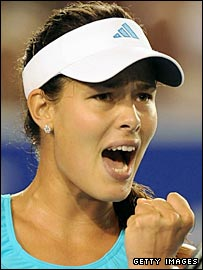 Ana Ivanovic celebrates winning a point against Daniela Hantuchova