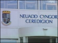 Ceredigion Council sign