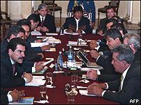 Evo Morales reunido con los gobernadores del país, Enero 14 de 2008