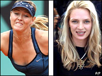 Sharapova and Uma Thurman