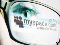 MySpace logo reflected in glasses, AP