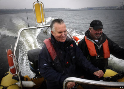 Peter Hain visiting the site of the proposed Severn Barrage