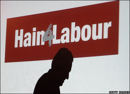 Peter Hain's shadow is seen on a video screen as he launches his campaign for Deputy Leader of the Labour Party, May 2007